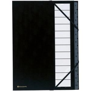 Eckspann-Ordnungsmappe 1-12 12 Fächer schwarz Innenfächer 250g/qm Karton