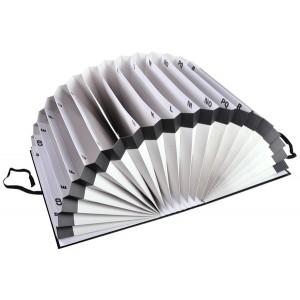 Fächermappe A-Z, A4, schwarz, mit dehnbarem Rücken und Band
