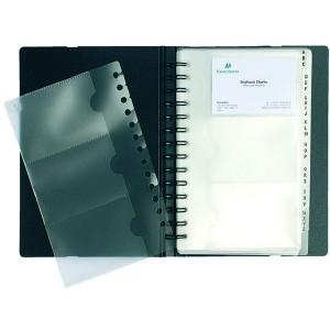 PP Visitenkartenbuch mit Doppelspirale Ecacard für 120 Karten swchwarz