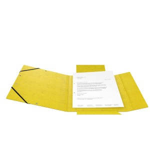 Postmappe Colorspan, A4, 355g/qm, gelb, Gummizug, 3 Einschlagklappen,