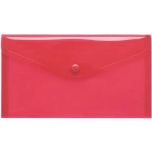 Sichttasche DIN Lang rot trans- parent, mit Druckknopf,