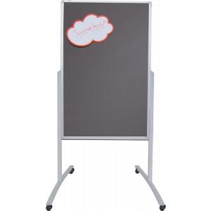 Kombi Moderationstafel mobil, 78 x 125 cm, Alurahmen, Filz grau