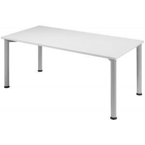 Schreibtisch B1600xT800mm Lichtgrau/weißalu, 4-Fuß Flex
