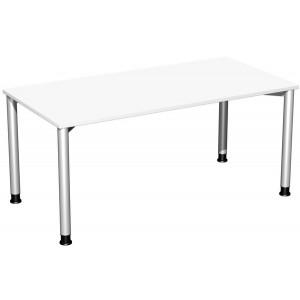 Schreibtisch B1600xT800mm weiß/weißalu, 4-Fuß Flex