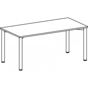 Schreibtisch B1800xT800mm grau/weißalu, 4-Fuß Flex