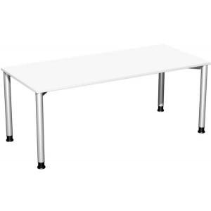 Schreibtisch B1800xT800mm weiß/weißalu, 4-Fuß Flex