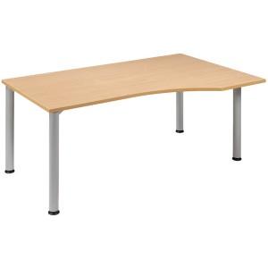 Schreibtisch rechts Buche/weißalu 4-Fuß Flex, BxT: 1800x800/1000mm