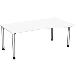 Schreibtisch rechts weiß/weißalu 4-Fuß Flex, BxT: 1800x800/1000mm