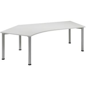 Schreibtisch 135° links Lichtgrau/ weißalu, 4-Fuß Flex