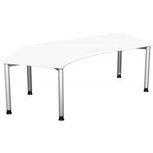Schreibtisch 135° rechts, weiß/ weißalu, 4-Fuß Flex