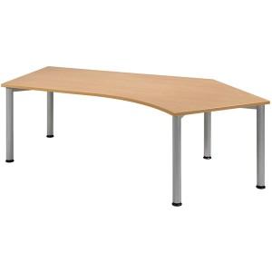 Schreibtisch 135° rechts, Buche/ weißalu, 4-Fuß Flex