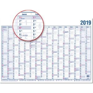 Wandplaner A3 40x30cm 16 Monate 2019 große Tagesfelder, inkl.