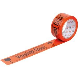 """PP Klebeband """"Vorsicht Glas"""", 66mx50mm, orange"""