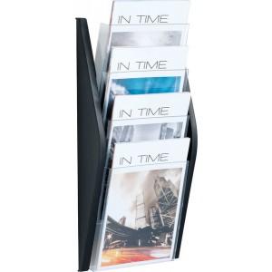 Prospektwandhalter 4 x A4 hoch schwarz, 4 Fächer transparent