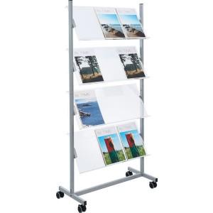 Helit Prospektregal aus Metall 4 Fächer für 12 x A4, glasklar
