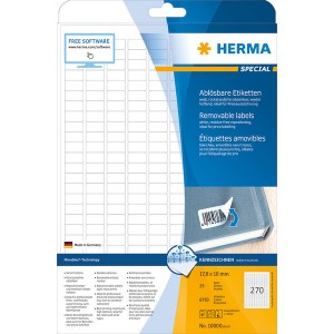 Kennzeichnungsetiketten 17,8x10mm ws 25 Blatt=6750 Etiketten