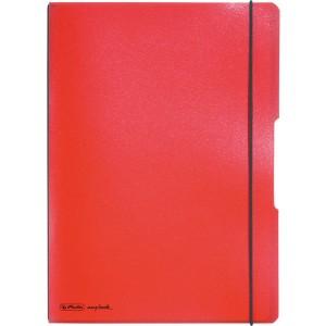 Notizheft flex PP, liniert + kariert (je 40 Blatt), Papier 80g, rot,