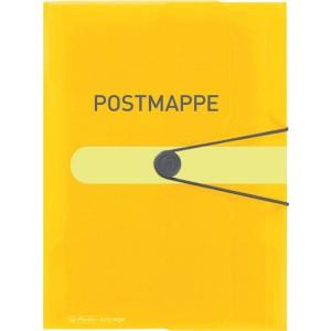 Gummizugmappe A4, gelb-transparent, mit Aufdruck Postmappe, 3 Klappen