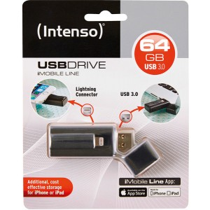 Speicherstick iMobile Line, Super Speed USB 3.0, 64GB, schwarz,
