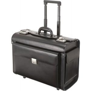 Pilotenkoffer mit Trolley Echt Leder schwarz 47,5x21,0x36,5cm #45250