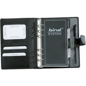 Bind Systemplaner A6 Nappaleder sw ohne Kalender, mit Druckknopf