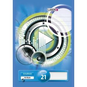 Schulblock, A4, 50 Blatt, 70g/qm, Lineatur 21, liniert, 4fach gelocht