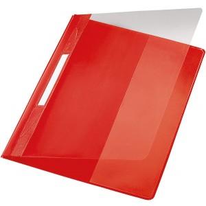Exquisit Plastik Schnellhefter rot A4 mit Falz, Überbreit