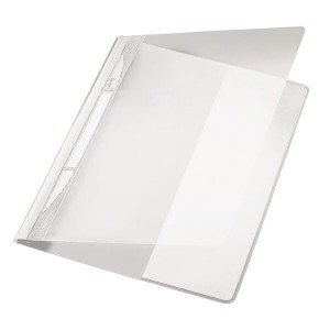 Exquisit Plastik Schnellhefter weiß A4 mit Falz, Überbreit