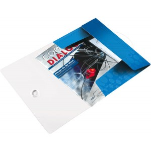 Eckspannermappe A4 WOW, PP, blau metallic, 3 Schutzklappen