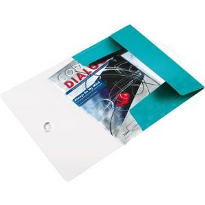 Eckspannermappe A4 WOW, PP, eisblau metallic, 3 Schutzklappen
