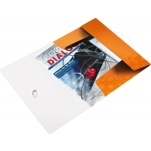 Eckspannermappe A4 WOW, PP, orange metallic, 3 Schutzklappen