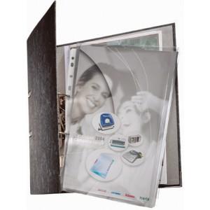 Maxi Prospekthülle A4 PVC 0,17mm genarbt oben offen,metalllochrand