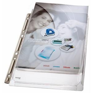 Maxi Prospekthülle A4 PVC 0,17mm genarbt oben offen Eurolochung