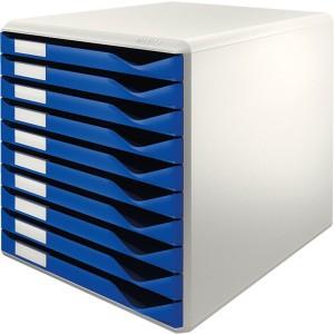 Schubladenbox lgrau/blau A4 10 Schübe geschlossen