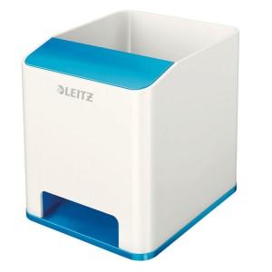 Leitz WOW Sound Stifteköcher Duo Colour blau metallic, verstärkt den Sound Ihres Smartphones