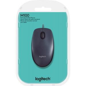 Logitech Mouse M100 schwarz, kabelgeb.