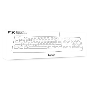 Logitech Tastatur K120 weiß, Kabelgebunden USB, Business