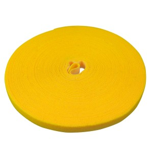 Doppelseitige Klettbandrolle, 25m x 16mm, gelb, Klettkabelbinder
