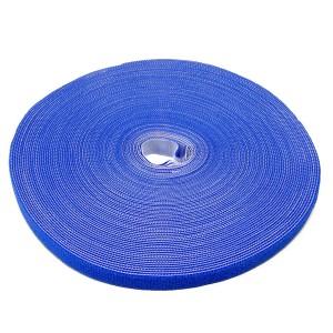 Doppelseitige Klettbandrolle, 25m x 16mm, blau, Klettkabelbinder