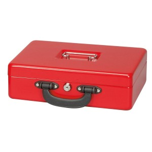 Geldkassette mit Zähleinsatz rot 30x24,5x9,3cm