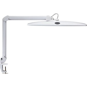 Tischleuchte LED MAULwork weiß stufenlos dimmbar, Klemmfuß