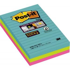 Post-it® Super Sticky Notes 4690S3MI 3 Blöcke á 90 Blatt, Miami Collection