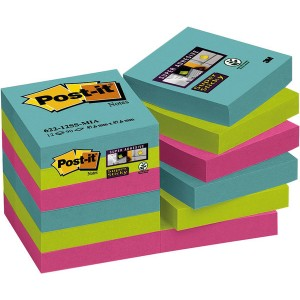 Post-it Super Sticky Notes 48x48mm, Miami Collection, türkis, neongrün,