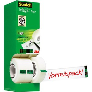 Scotch Magic Klebeband 810 Power Pack mit 8 Rollen 19mmx33m
