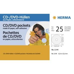 CD-DVD Hülle selbstkl.Papier weiss 124x124mm mit Sichtfenster 25St