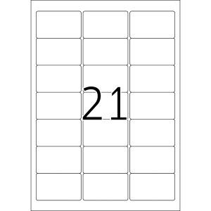 Kennzeichnungsetiketten 63,5x38,1mm ws 100 Blatt=2100 Etiketten