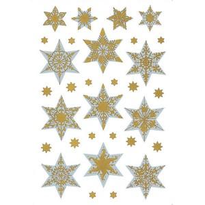 Schmucketikett Decor Sterne Silberfolie Goldfolie 1Bl 1Pack