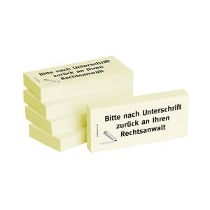 Haftnotizen 75 x 35 mm, gelb Bitte nach Unterschrift zurück an