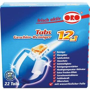 ORO Spülmaschinen Tabs 12 in 1, 22 x 20 g, in wasserlöslicher Folie