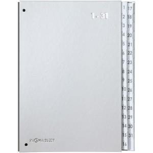 Pultordner 1-31 silber Einband aus Hartpappe mit